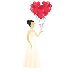 Bride with bunch of heart-shaped red balloons vector