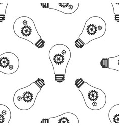 bulb with gears and cogs working idea concept vector image