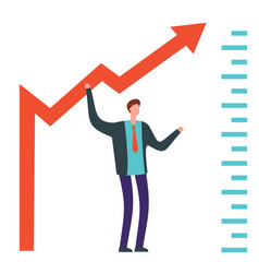 businessman raises arrow vector image