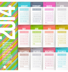 Calendar of 2014 with stitched labels vector