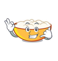 Call me cottage cheese mascot cartoon vector