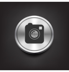 Camera simple icon on silver button vector image