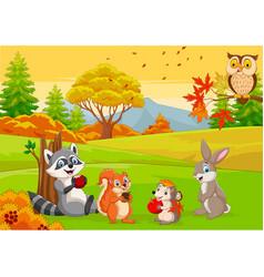 cartoon wild animals in autumn forest vector image