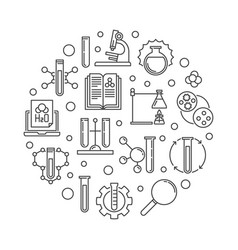 chemistry or chemical science circular line vector image