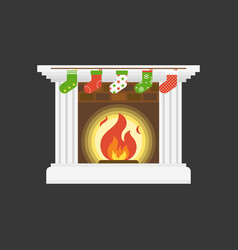 christmas socks hanging in front of fire place vector image