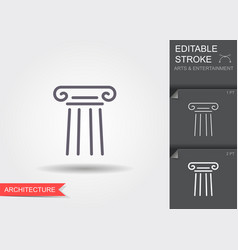 classical column line icon with shadow and vector image