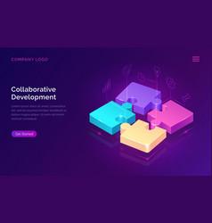 collaborative development isometric concept vector image