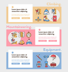 color linear icon set climbing hiking vector image