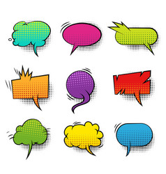 Comic colorful blank speech bubbles collection vector