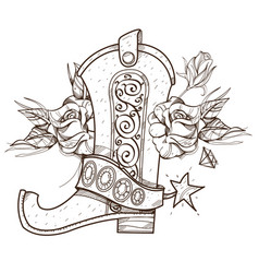 Cowboy boot and roses wild west outline isolated vector