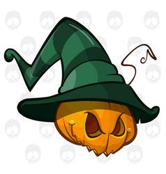 creepy pumpkin in witch hat vector image