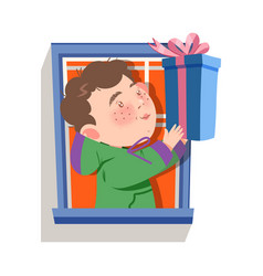Cute boy character in window giving gift box vector