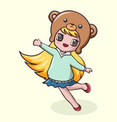 Cute little girl cartoon in bear hat vector