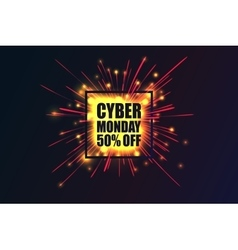 Cyber Monday discount fireworks vector