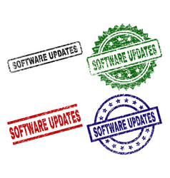Damaged textured software updates seal stamps vector