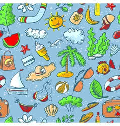 Doodle summer seamless vector