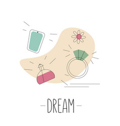 dream concept with outline ring perfume phone vector image