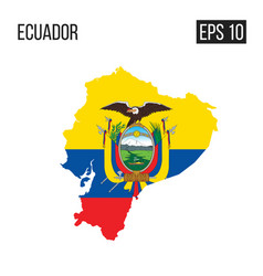 ecudor map border with flag eps10 vector image