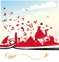 Egypt background with ribbon flag and symbol vector