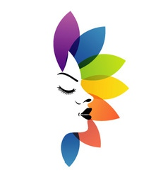 Face with colorful leaves- logo for aromatherapy vector