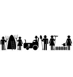 Farm farmer worker pictograms vector