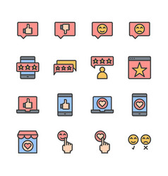 feedback and customer review related icon set vector image