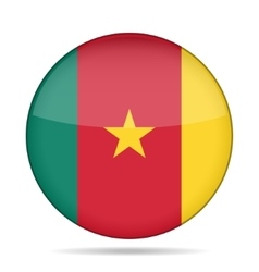 Flag of Cameroon Shiny round button vector