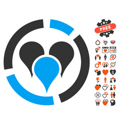 Geo targeting diagram icon with love bonus vector