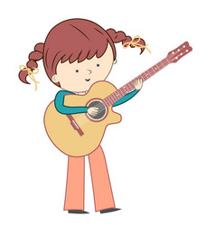 Girl playing guitar isolated on white background vector