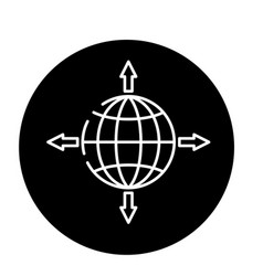 Global sales channels black icon sign on vector
