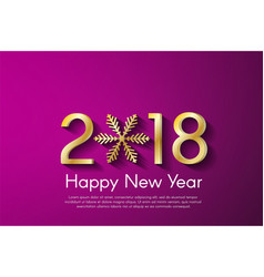 golden new year 2018 concept on pink background vector image