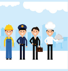 Group professionals workers vector