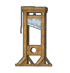 Guillotine executions device sketch vector