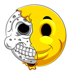 half skull emoticon with white background vector image