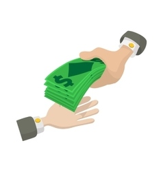 Hand passing money icon cartoon style vector image