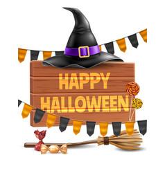 happy halloween poster witch hat broom vector image