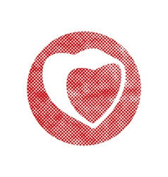 Heart icon with pixel print halftone dots texture vector image