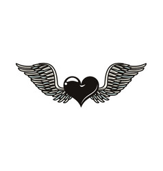 Heart love with wings tattoo art icon vector