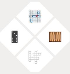 icon flat entertainment set of backgammon battle vector image vector image