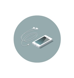 Isometric white smartphone with headphones vector