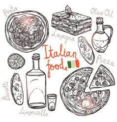 Italian Hand Drawn Food Collection vector image