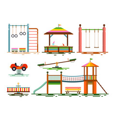 kids playground flat design icons vector image