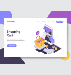 landing page template of online shopping cart vector image