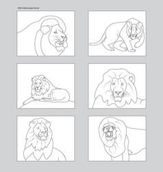 line art six lion figures on ansi a white mockups vector image