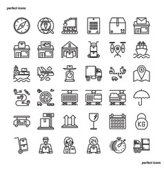 Logistics outline icons perfect pixel vector