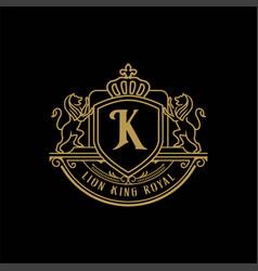 luxury golden badge emblem royal lion king vector image