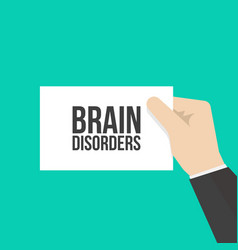 Man showing paper brain disorders text vector