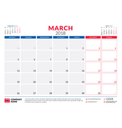 March 2018 calendar planner design template week vector