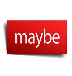 Maybe red square isolated paper sign on white vector