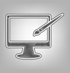 monitor with brush sign pencil sketch vector image